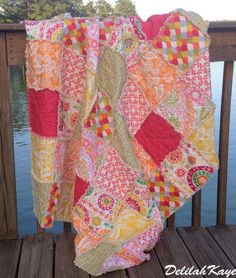 Rag Quilt Throw Picnic Beach Bukhara Modern Tangerine Tango Ready to Ship. $205.00, via Etsy.