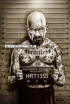 BREAKING BAD HEISENBERG MUGSHOT by ScreamingDemons on DeviantArt - https://www.etsy.com/uk/shop/ScreamingDemonsArt?ref=hdr_shop_menu