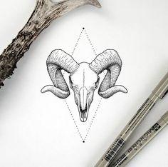 homedecor logo Work by amanda_piejak Baby Tattoos, Little Tattoos, Skull Tattoos, Body Art Tattoos, Tattoo Sketches, Tattoo Drawings, Aries Ram Tattoo, Horoscope Tattoos, Capricorn Tattoo