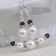 Purple Bridesmaid Gift, Swarovski White Pearl and Purple Bridesmaid Necklace and Earring Set, Bridal Party Jewelry, Plum Jewelry Set, Plum Wire Jewelry Earrings, Swarovski Jewelry, Pearl Jewelry, Beaded Jewelry, Jewelery, Fine Jewelry, Handmade Jewelry, Purple Wedding Jewelry, Bridal Party Jewelry