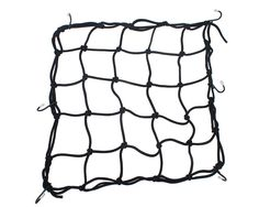 Kobwa(TM) Stong Stretch Bungee Motorcycles Cargo Net With 6 Hooks with Kobwa's Keyring. Material:rubber cord and nylon; Size:Approx 40Ã-40cm/16x16inches. Interwoven cross-cords constructed to prevent slipping or gaps. Extensible net can be rolled into ball about size of baseball for easy storage and enlargement. Direction:fix the hooks to the gear of motorcycle,ATV,snowmobile or bike.