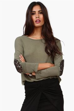 love the sparkly glitter patch sleeves #NecessaryClothing Get 8% cash back http://www.studentrate.com/itp/get-itp-student-deals/Necessary-Clothing-Student-Discount--/0