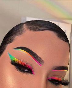 Makeup Eye Looks, Cute Makeup, Makeup Geek, Makeup Style, Prom Makeup, Rainbow Eye Makeup, Colorful Eye Makeup, Colorful Eyeshadow, Neon Eyeshadow