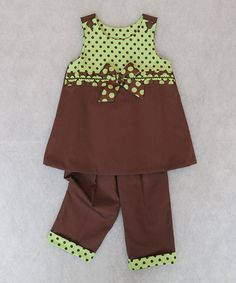 Take a look at this Brown & Green Polka Dot Bow Jumper & Pants - Toddler by Katie Bug Casuals on #zulily today!