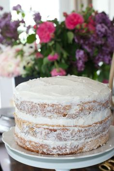 The easiest romantic rustic flower topped cake  -  I am admittedly more than a little obsessed with fresh flowers...         and talk to me about fres...