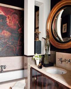 masculine bathroom with art