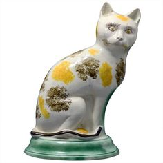 Antique Staffordshire Pottery Figure of Seated Cat - England Circa 1785