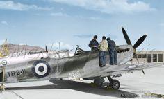 EBA - RHAF.  Supermarine Spitfire Mk.XVI  LF. R.H.A.F.,  Eleusis Air Base, 1952. Greece  by Markos Danezis