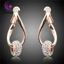 Jenia Elegant Austrian Crystal Drop Earrings Fashion Champagne Gold Plated Women Earring Jewelry Accessories LE011(China (Mainland))