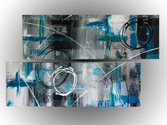 tableau, toile, art, abstrait, peinture, décoration, dyptique, bleu, touche,cercle, ligne, trace   www.mcdesign.fr www.facebook.fr/mcdesignart