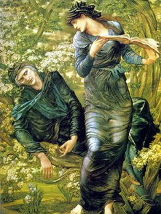 """The Beguiling of Merlin - Sir Edward Coley Burne-Jones  (also the cover art of A. S. Byatt's book """"Possession"""" - amazing read)"""