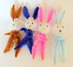 Vintage Style Easter Bunny Set Of 4 Bunny Decorations Or Broach