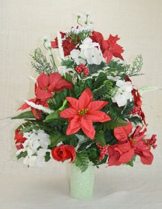 NO.CC001 Holiday Christmas Silk Flower Cemetery, Cone Vase Arrangement,Tombstone Saddle, Cemetery flowers , Grave flowers, Cemetery Saddle. by AFlowerAndMore on Etsy