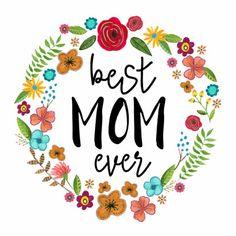 Een vrolijke moederdag kaart met hippe letters en schattige bloemen.