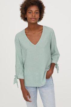 Cotton blouse - Green/White striped - Ladies   H&M GB 1