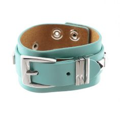 "Leather Buckle Strap Bracelet; 8.75""L And 1.5""W; Mint Genuine Leather Strap; Silver Metal Hardware; Double Snap Closure For Size Adjustment; Eileen's Collection. $49.99. Save 50%!"