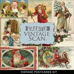 Far Far Hill: Freebies Vintage Santas Post Cards