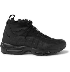 NIKE Air Max 95 Leather, Canvas And Mesh Sneakerboots. #nike #shoes #sneakers