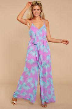 a3fa216c1d You Make It Easy Lavender Tropical Print Jumpsuit – Red Dress Boutique Printed  Jumpsuit