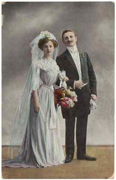 DB Vintage Edwardian Postcard Romantic Bride and Groom Nice Period Clothing | eBay