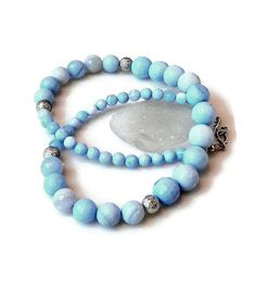 Blue Lace Agate Necklace Statement Powder Blue by MsBsDesigns, $138.00