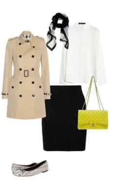 Capsule Closet   Abril 2016   Day 12 (Black skirt, pitton ballerinas, yellow bag, white blouse, beige trench-coat)
