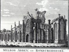 Antique print:Melrose Abbey Roxburghshire Roxburgh Scotland 1786