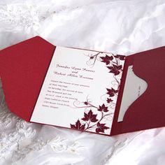 affordable cranberry red vineyard pocket fold fall wedding invitations