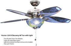 Basic and Not-so-Basic Ceiling Fans Star Ceiling, Ceiling Fans, Fan Blades, Discount Lighting, Pull Chain, Nasa, Discovery, Chains, Deep