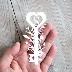 Personalised Monogram Paper Cut Botanical Key