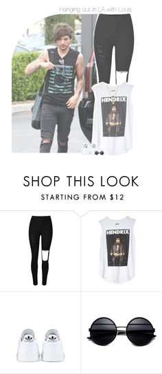 """ʚɞ Hanging out in LA with Louis ʚɞ"" by antisocialmuke ❤ liked on Polyvore featuring adidas, LowLuv, OneDirection, 1d, louis, louistomlinson and onedirectionoutfits"