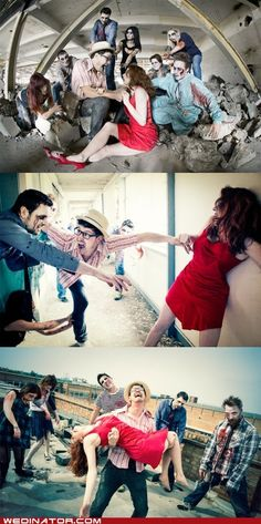 funny wedding photos - Fighting Them Off Together
