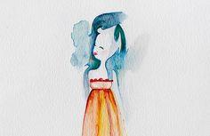 One Night in Paris 8x10  $75.00 #watercolor #ArtNouveau  #romanticism #French #art
