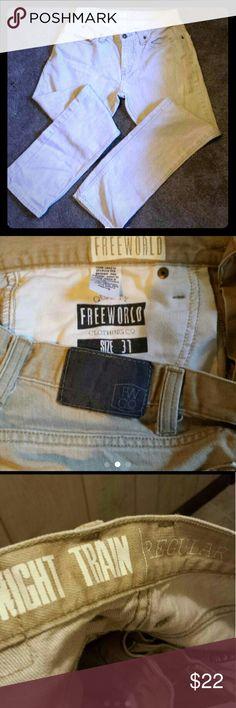 Mens Tan jeans Men or young men tan jeans Free world size 31 28 Jeans