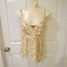 4th Of July SALE GOING ON NOW! HURRY SHOP TODAY!  Ann Taylor Loft Summer Top Yellow/Brown Floral Size 8 VERY PRETTY! #AnnTaylorLoft #TankCami #Casual