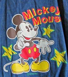 Vtg Walt Disney Mickey Mouse Jeans Bib Overall Apron Jumper Romper Open Back