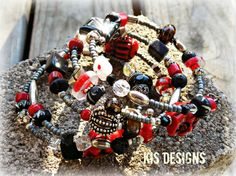 Black White and Red All Over Good Turn Bracelet by KISDesigns