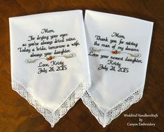 Mother of the Bride, Mother In Law, Custom, Persoanlized, Embroidered Wedding Handkerchief, Wedding Gifts, Gift for Parents