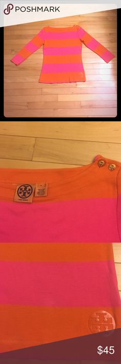Tory Burch Striped Top Size M This is a striped Tory Burch long sleeve top in excellent pre-owned condition. It is size M and the colors are orange and pink. 100% Pima cotton Tory Burch Tops Tees - Long Sleeve