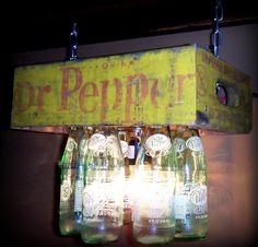 Hanging Dr Pepper Crate & Bottle Light/Man Cave by BrownieGifts, $99.00