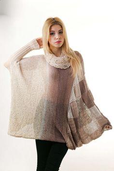 Beige Sequins Plus Size Sweater Multicolor by Theworldofdolls