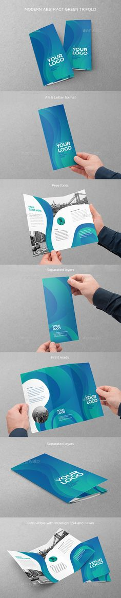 Modern Abstract Green Trifold Brochure Design Template - Brochures Print Templates InDesign INDD. Download here: https://graphicriver.net/item/modern-abstract-green-trifold/19161336?ref=yinkira