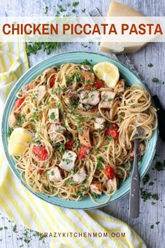 Chicken Piccata Pasta Dinner in 30 minutes! Buttery, lemony chicken piccata pasta is perfect for any weeknight with the family. Fast and delicious. Unique Recipes, Great Recipes, Favorite Recipes, Healthy Recipes, Ethnic Recipes, Recipe Ideas, Easy Recipes, Chicken Piccata Pasta, Pan Seared Chicken