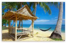 Tropical Beach Hut With Hammock Strand Wallpaper, Beach Wallpaper, Summer Wallpaper, Hd Wallpaper, Beautiful Wallpaper, Wallpaper Downloads, Dream Vacations, Vacation Spots, Tropical Beach Resorts