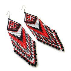 Long red, black and white seed bead earrings  - sterling silver ear wires  - beadwork earrings