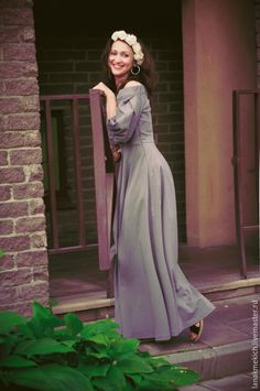 """Купить Длинное платье с широкой юбкой """"Белоснежка 2015"""" - серый, однотонный, платье летнее"""