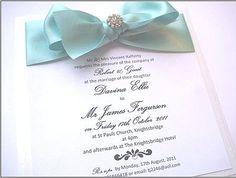 Tiffany blue wedding invitation with bow