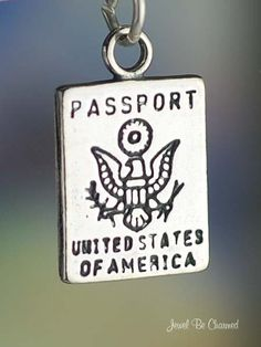 Passport Charm United States of America Tourist Vacation Travel Sterling Silver. $9.95, via Etsy.