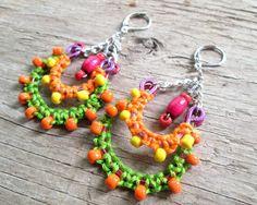Bohemian Chandelier Earrings  Green and Orange di EarthChildArt, $28.00