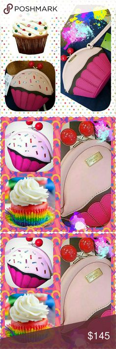 "Kate Spade ""Posie Take the Cake"" Wristlet Whimsical, sweet, adorable Kate Spade cupcake shaped wristlet with 2 cherry toppings as ""kiss"" lock. So very yummy, you'd want to eat it. LOL  Approximate measurements: 5"" height, 6"" width, 2.5"" depth kate spade Bags Clutches & Wristlets"
